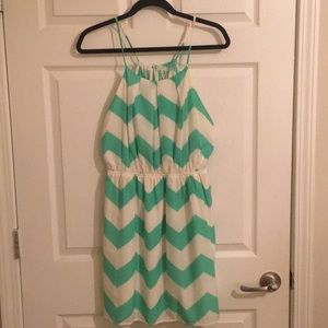 EUC aqua/cream Chevron dress